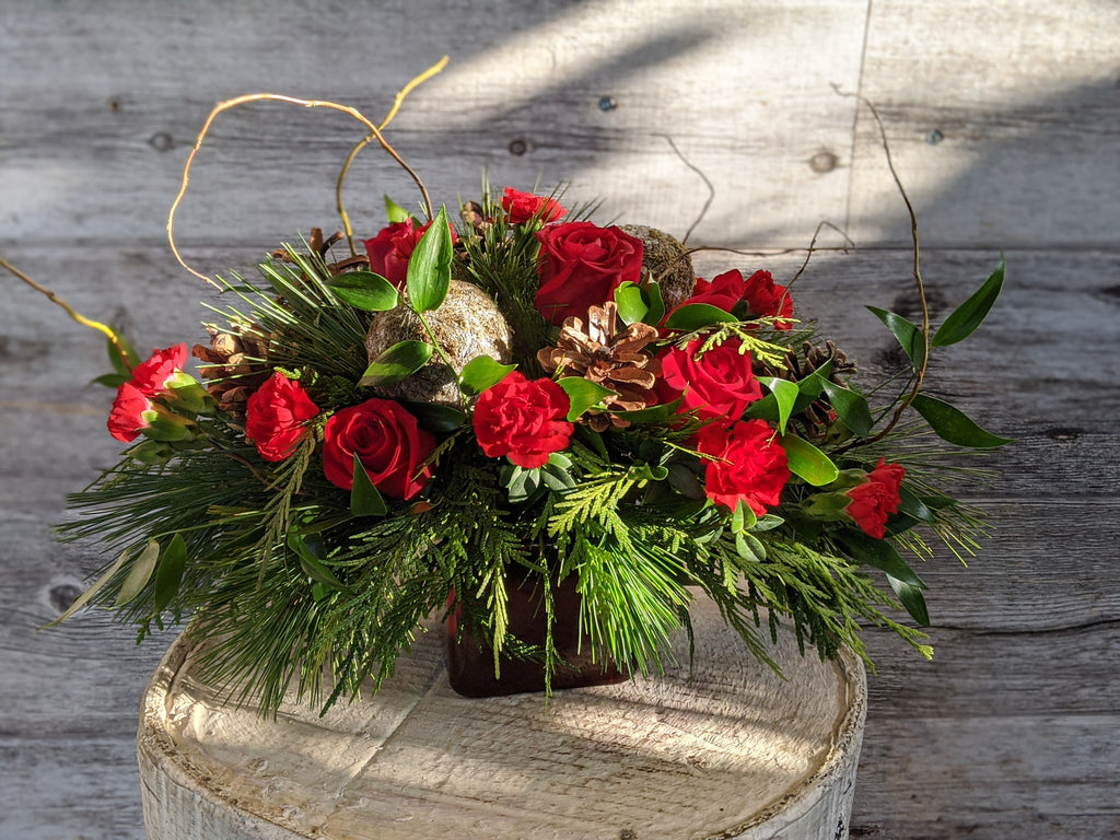 Red Cube Holiday Arrangement