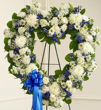 Always Remember Heart Tribute - Blue & White - Beaudry Flowers