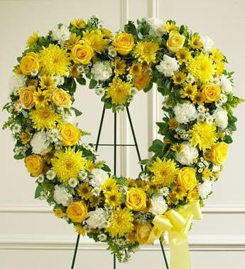 Always Remember Heart Tribute - Yellow - Beaudry Flowers