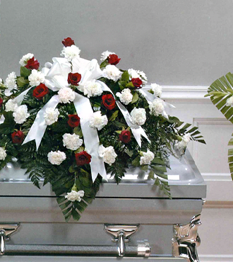 Basic Funerals Casket Spray Red and White - Beaudry Flowers