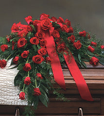 Casket Spray Red Roses - Beaudry Flowers