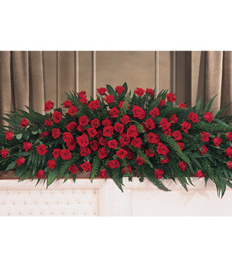 Casket Spray for Full Couch Casket Styled with Red Roses - Beaudry Flowers