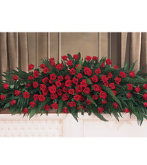 Casket Spray for Full Couch Casket Styled with Red Roses