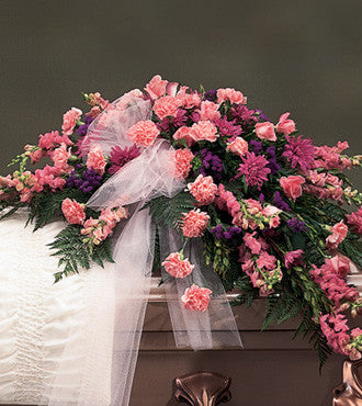 Casket Spray Styled in Monochromatic Pink - Beaudry Flowers