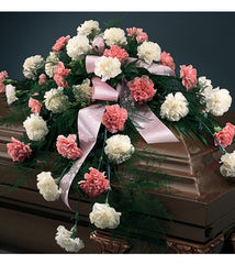 Casket Spray White And Pink Carnations - Beaudry Flowers