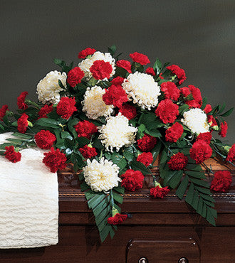 Casket Spray Carnations Mums - Beaudry Flowers