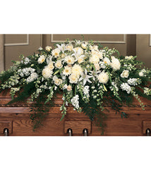 Full Casket Spray Styled In All White And Ivory Flowers - Beaudry Flowers