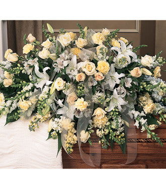 Casket Spray Half Spray Styled with White - Ivory Cream Flowers