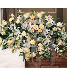 Casket Spray Half Spray Styled with White - Ivory Cream Flowers - Beaudry Flowers