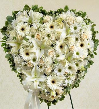 Classic White Heart Tribute - Beaudry Flowers