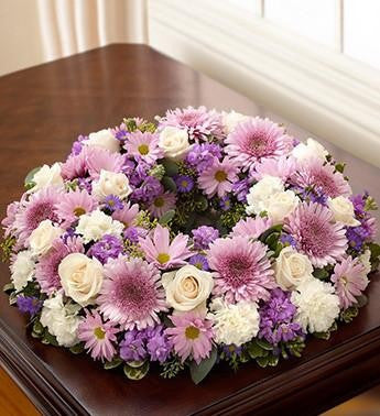 Cremation Wreath - Lavender & White - Beaudry Flowers