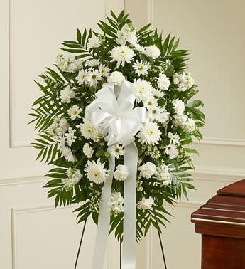 Deepest Sympathies Standing Spray - White - Beaudry Flowers