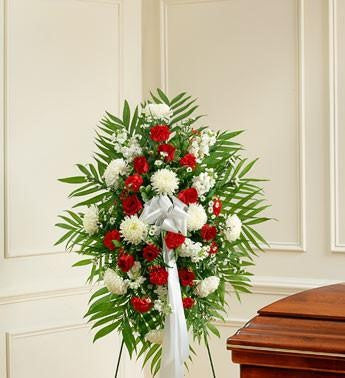 Deepest Sympathies Standing Spray – Red & White - Beaudry Flowers