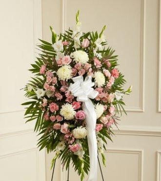 Deepest Sympathies Standing Spray – Pink & White - Beaudry Flowers