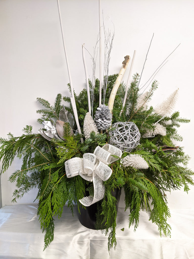 White & Silver Holiday Planter Insert