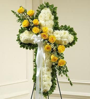 Peace and Prayers Standing Cross – Yellow - Beaudry Flowers