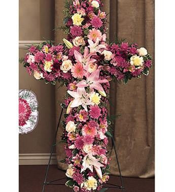 Religious Novelty Cross Styled with Lavender Pompons - Beaudry Flowers