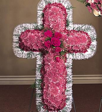 Religious Novelty Cross with Mixed Flowers - Beaudry Flowers