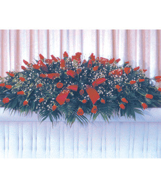 All Red Rose Casket Spray - Beaudry Flowers