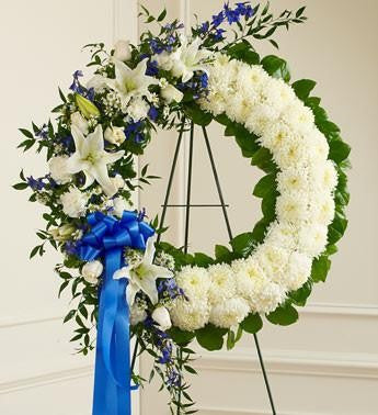 Serene Blessing Standing Wreath - Blue & White | FNB-104 - Beaudry Flowers