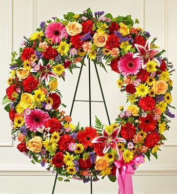 Serene Blessing Standing Wreath - Multicolor FNBR-108 - Beaudry Flowers