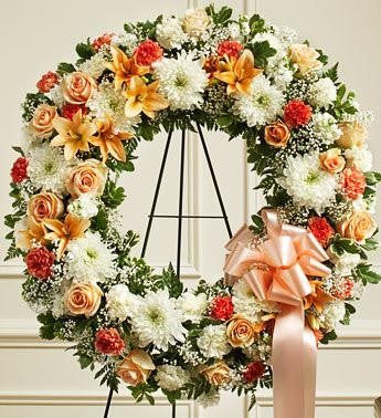 Serene Blessing Standing Wreath - Peach - Orange & White | FNPC-104 - Beaudry Flowers