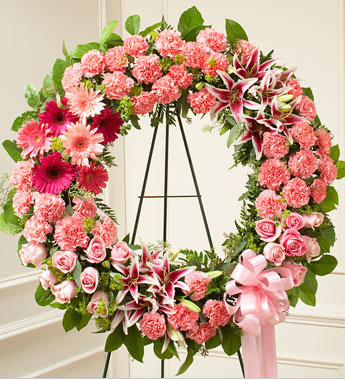 Serene Blessings Standing Wreath Bright - Pink | FNP-103 - Beaudry Flowers