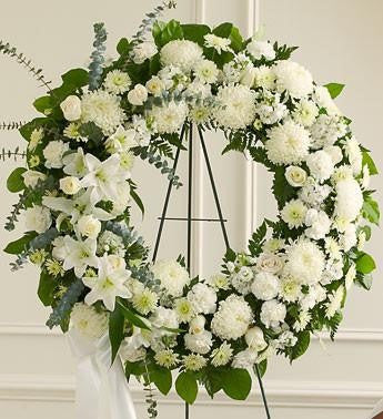 Serene Blessings Standing Wreath Bright - White | FNW-107 - Beaudry Flowers