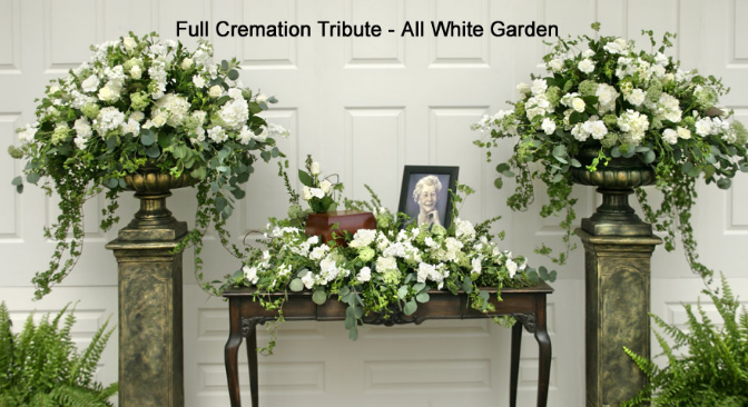 The Full Cremation Tribute – All White Garden - Beaudry Flowers