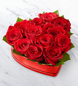 Lovely Red Rose Heart Box FTD