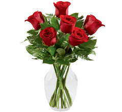 Half Dozen Red Rose Vase Arrangement