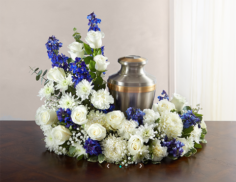 CREMATION WREATH - BLUE & WHITE (URN)
