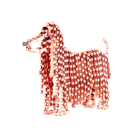 Princess 1 - Dog sculpture, made of bicycle chains