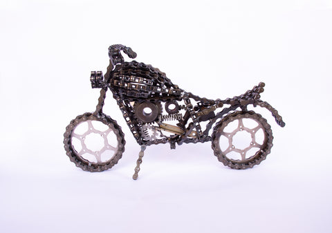 Motorcycle Big - Motorcycle sculpture, made of bicycle chains