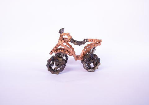 ATV - all terrain vehicle sculpture, made of bicycle chains