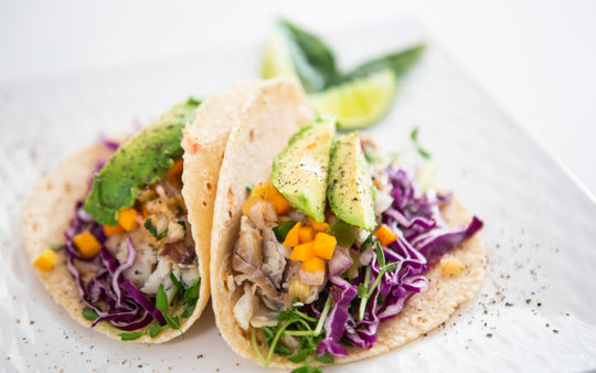 Glitne Halibut Tacos with Spicy Cabbage Slaw