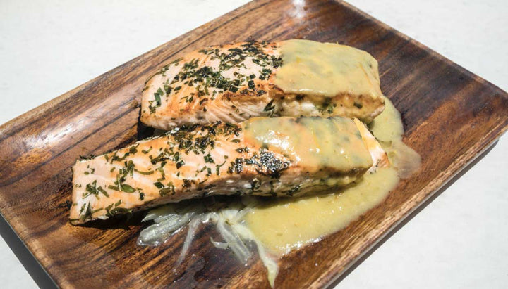 Nordic Blu Salmon Marinated in Tarragon and Mint w/ Braised Fennel & Green Zebra Tomato Sauce