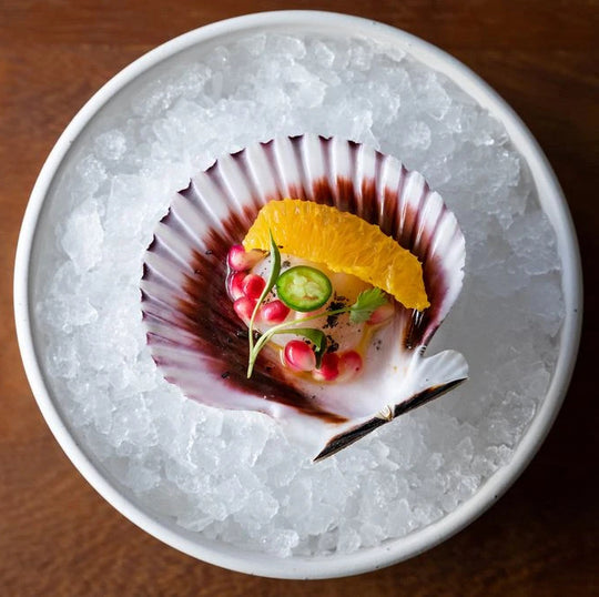 Three variations for Scallop Crudo in the Half Shell