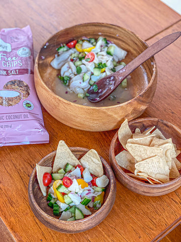 Glitne Halibut ceviche with Coconut Chips