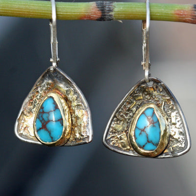 Kingman Turquoise Earrings - 18k Gold Fused on Black Sterling Silver - Diamond Shape -