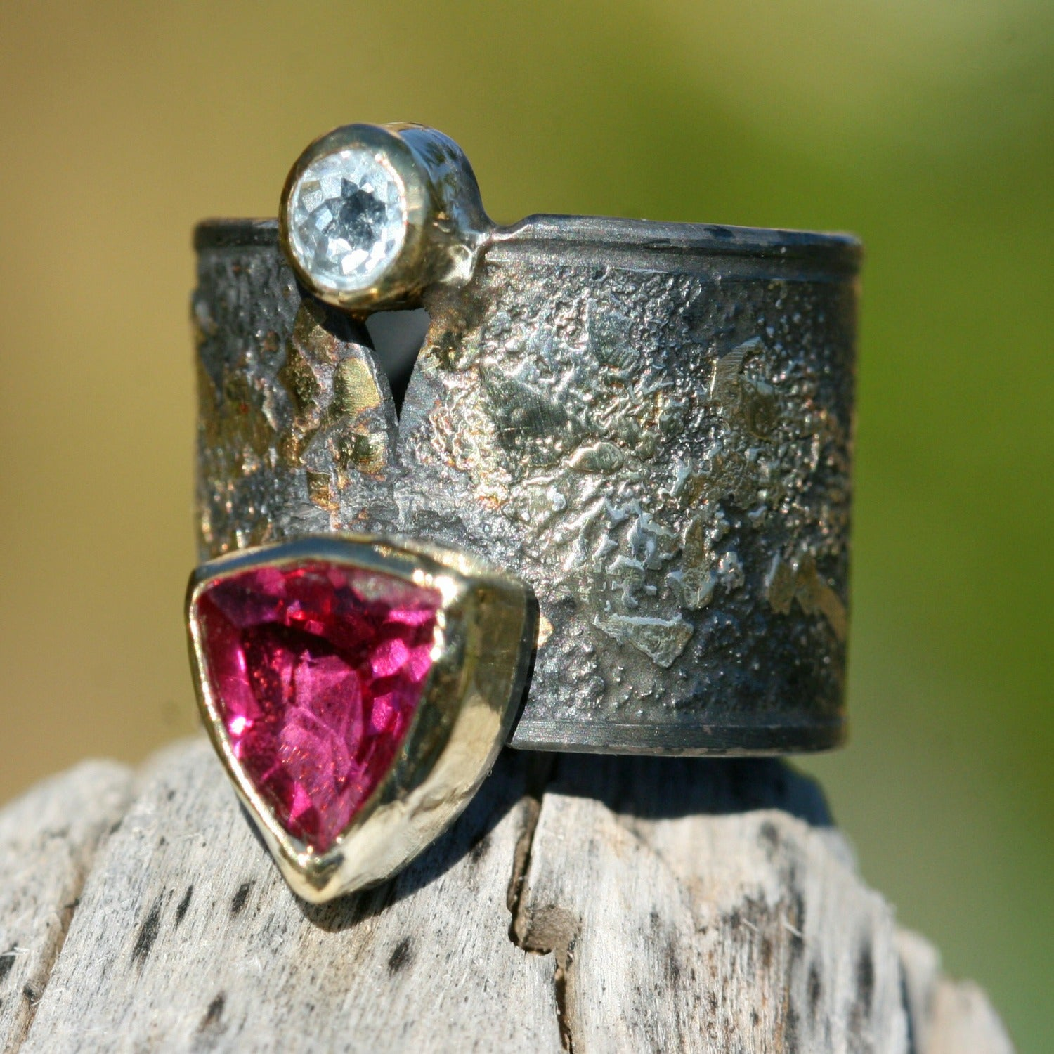 Sky Blue Tanzanite and Pink Tourmaline - 18k Gold On Oxidized Silver