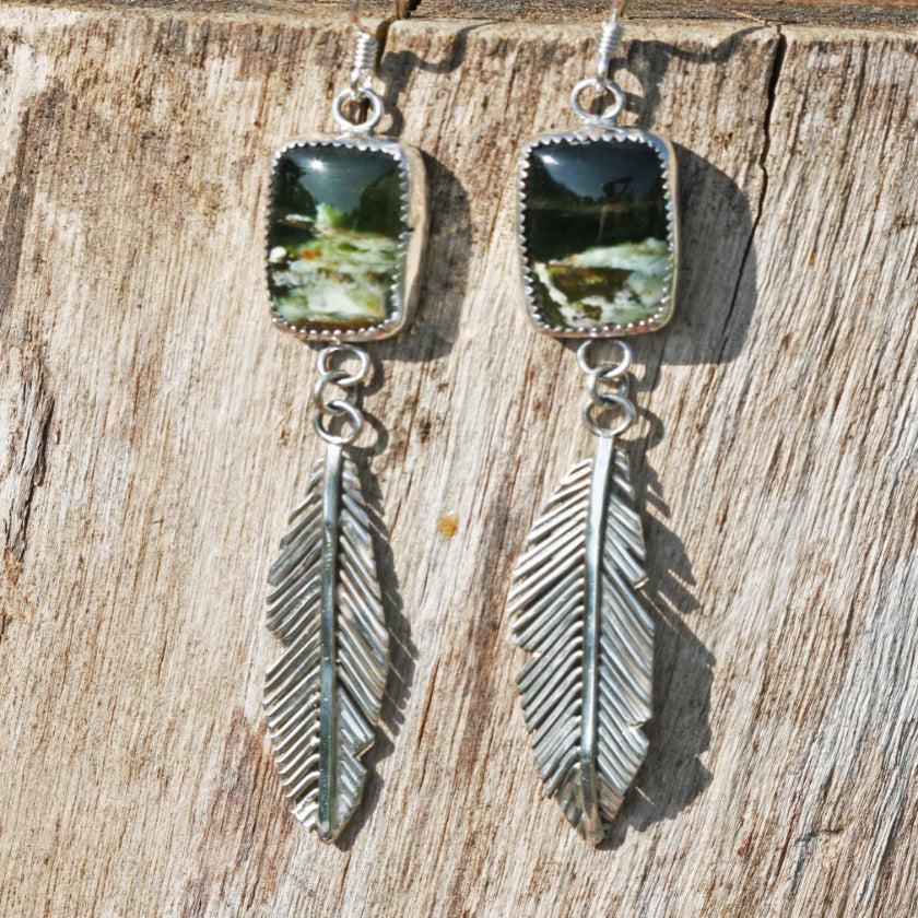 feather earrings boho gypsy festival jewelry agate green handmade sterling silver