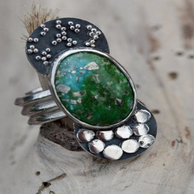 ring granulation green turquoise unusual sterling boho gypsy