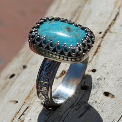 turquoise ring style unusual blue Indian boho gypsy jewelry
