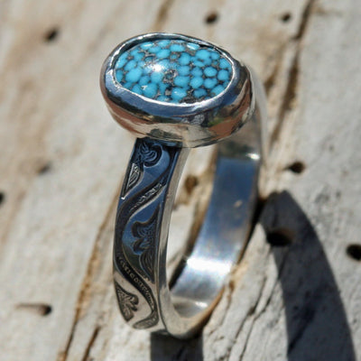 Cloud Mountain Turquoise Ring     Size 7 1/2