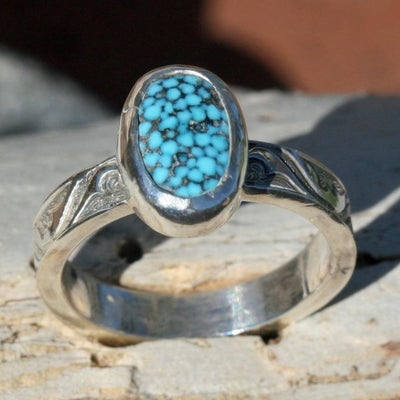 ring turquoise black spider webbing boho gypsy hippie jewelry festival fashion