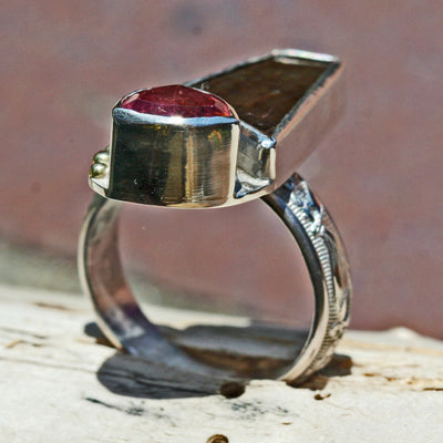Pink Tourmaline and Gem Ammolite Ring   Size 7 1/2