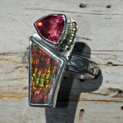 ring gold granulation Ammolite opal  pink Tourmaline crystal sterling