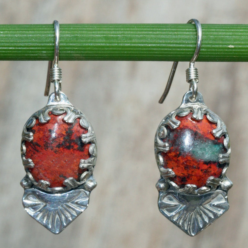 red stone earrings Cuprite sterling silver dangle Sonora sunrise
