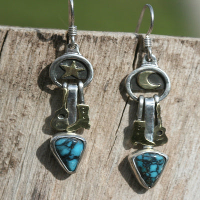 Cowgirl Boots and Country Guitar Turquoise Earrings